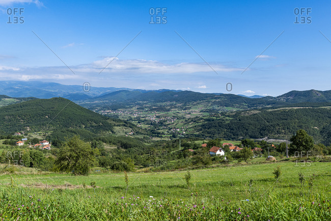 View over the landscape around Novi Pazar, southern Serbia, Europe