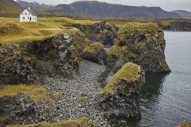 Basalt lava cliffs at Arnastapi, on the coast of the Snaefellsnes peninsula, west Iceland, Polar Regions