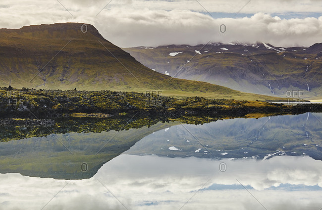 Fjord and mountain scenery around the Berserkjahraun lava field, near Skykkisholmur, Snaefellsnes peninsula, western Iceland, Polar Regions