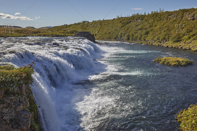 A foaming waterfall, Faxifoss Falls, near Geyser, southwest Iceland, Polar Regions