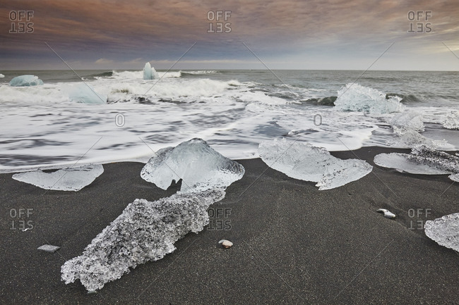 Melting glacial ice, carved from the Vatnajokull icecap, on the beach at Jokulsarlon, on the south coast of Iceland, Polar Regions