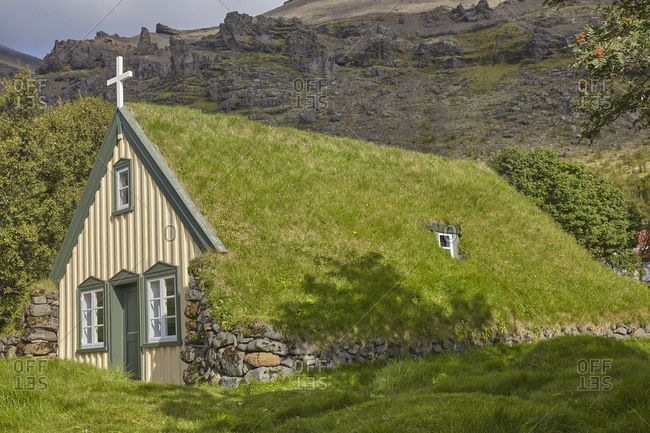 Historic Icelandic architecture, an 18th century church at Litla Hof, near Skaftafell, near the south coast of Iceland, Polar Regions