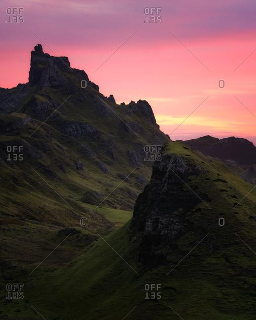 Sunrise at the Quiraing, Isle of Skye, Inner Hebrides, Scotland, United Kingdom, Europe