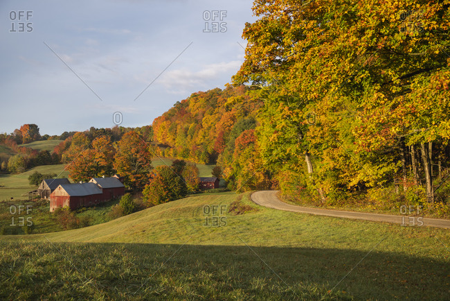 Jenne Farm on an autumn morning, Vermont, New England, United States of America, North America