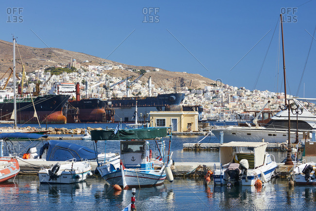 September 1, 2020: Harbor of Ermoupoli city on Syros island, Cyclades, Greek Islands, Greece, Europe