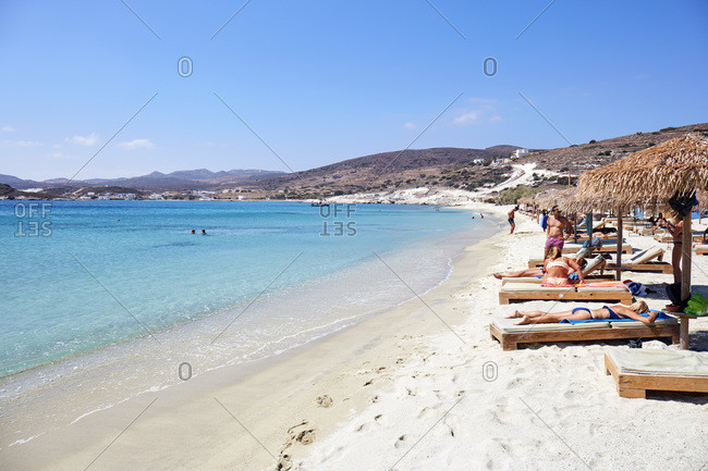 September 11, 2020: Paralia Prasse beach, Island of Kimolos, close to Milos island, Cyclades, Greek Islands, Greece, Europe
