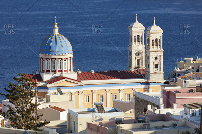 September 1, 2020: Saint Nicholas church, Ermoupoli city on Syros island, Cyclades, Greek Islands, Greece, Europe