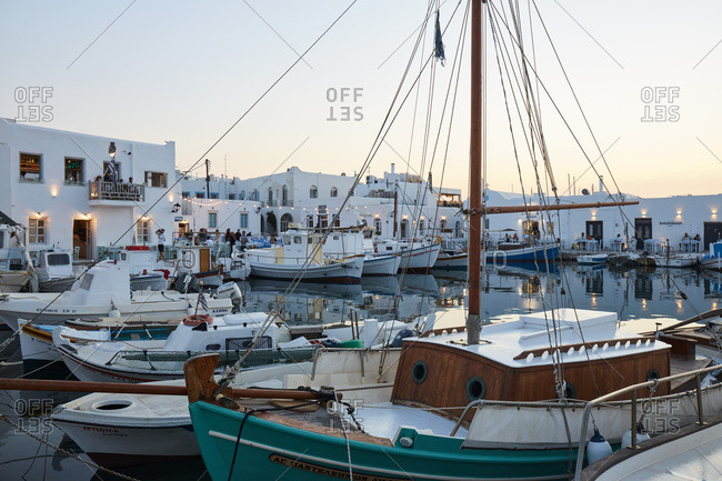 September 17, 2020: Naoussa historical harbor on Paros island at blue hour, Paros, Cyclades, Greek Islands, Greece, Europe