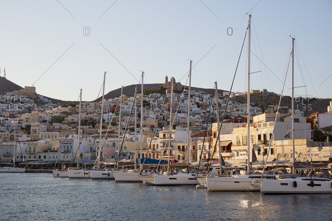 August 31, 2020: City of Ermoupoli on Syros island, Cyclades, Greek Islands, Greece, Europe
