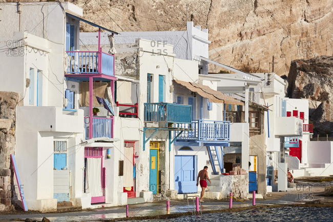 September 8, 2020: Picturesque colorful village of Klima, Milos island, Cyclades, Greek Islands, Greece, Europe
