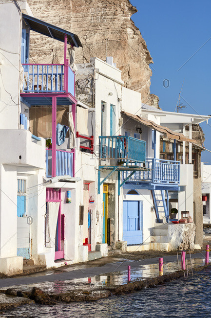 Picturesque colorful village of Klima, Milos island, Cyclades, Greek Islands, Greece, Europe