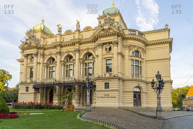 August 11, 2020: Juliusz Slowacki Theatre, Old Town, UNESCO World Heritage Site, Krakow, Poland, Europe