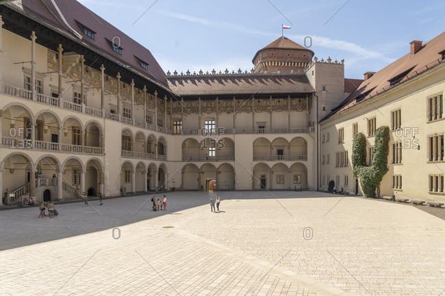 August 13, 2020: The 16th century Renaissance courtyard, Wawel Castle, UNESCO World Heritage Site, Krakow, Poland, Europe