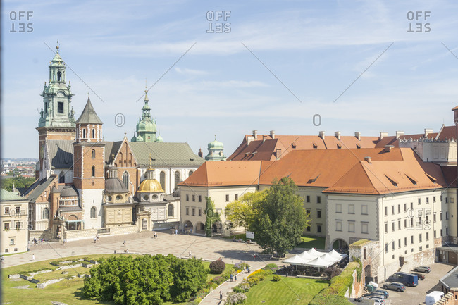 August 13, 2020: Elevated view of Wawel Castle, UNESCO World Heritage Site, Krakow, Poland, Europe