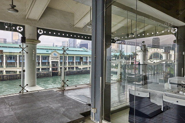 Hong Kong, China - September 22, 2016: Looking out from the Central Ferry Piers in the northeast part of Central with view of the Hong Kong Maritime Museum