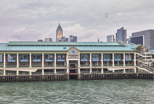 Hong Kong, China - September 22, 2016: The Central Ferry Piers in the northeast part of Central with view of the Hong Kong Maritime Museum