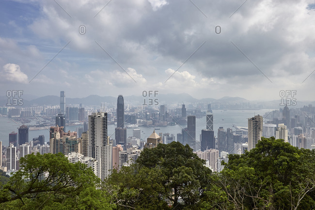 Hong Kong, China - September 23, 2016: Victoria Harbor and skyline panoramic view from above