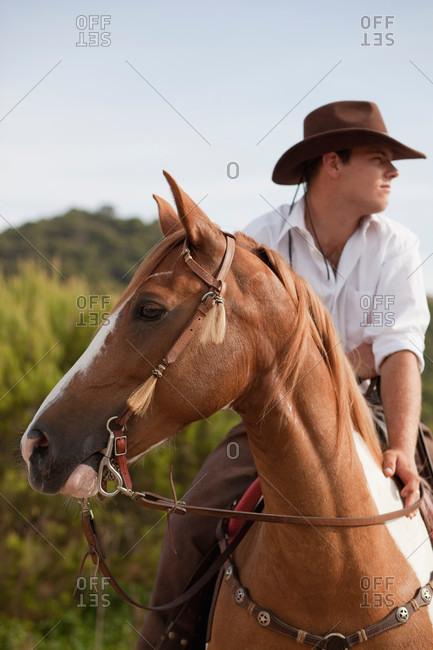 Man wearing a cowboy hat riding a horse