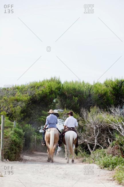 Men riding horses, back view
