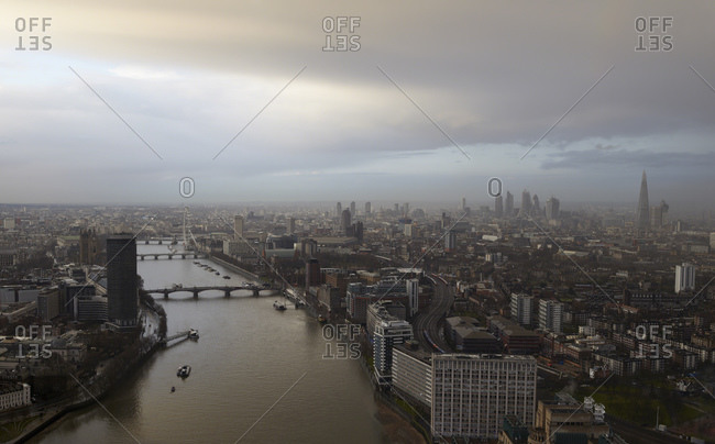 Aerial view of The Thames and Houses of Parliament,  London, UK
