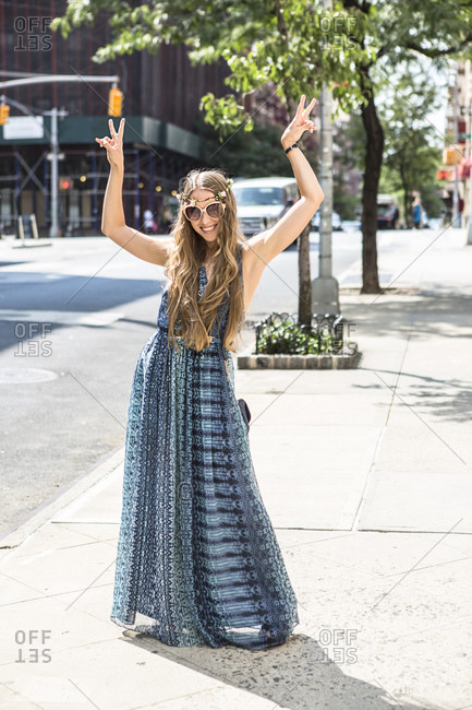 Funky woman in street, New York City, US