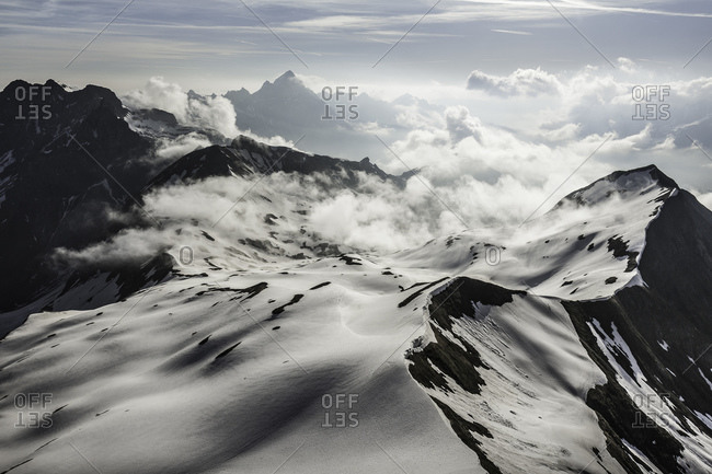 View of snow and clouds, Bavarian Alps, Oberstdorf, Bavaria, Germany