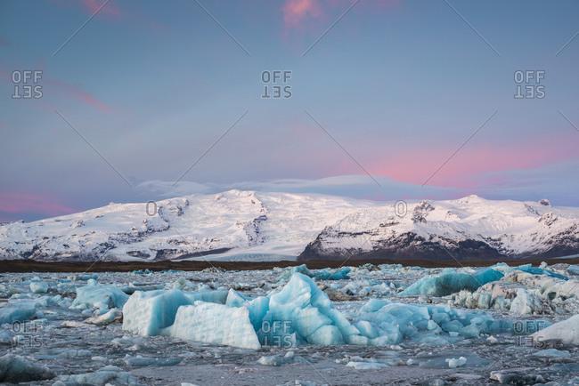 Sunrise in winter at Jokulsarlon Glacial Lagoon, Southeast Iceland