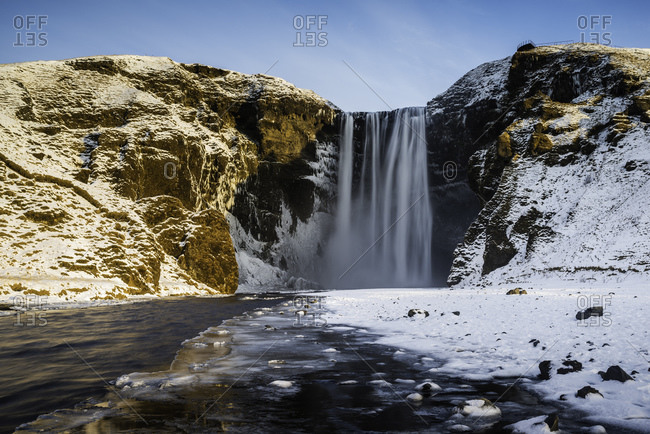 Skogafoss waterfall in winter, South Iceland