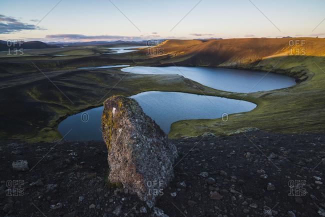 Sunset, Veidivotn Lake District, Interior of Iceland