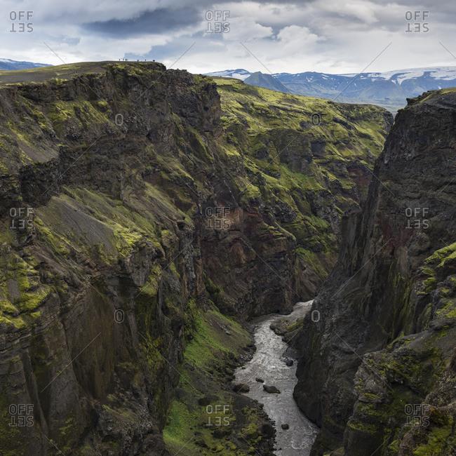 Hikers on ridge, Markarfljotsgljufur Canyon, Interior of Iceland