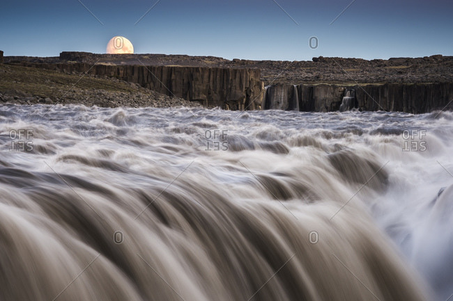 Moon rising, Dettifoss waterfall, North Iceland