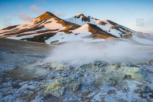 Steaming geothermal area, Kerlingarfjoll Mountain Range, Interior of Iceland
