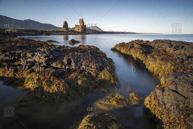 Seascape by Malarrif, Londrangar Sea stacks in background, Snaefellsnes, Iceland