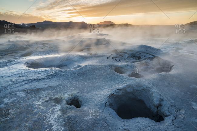 Sunrise, Mount Namafjall, geothermal area, Myvatn, North Iceland