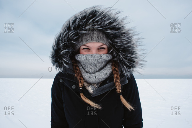 Portrait of woman enjoying winter