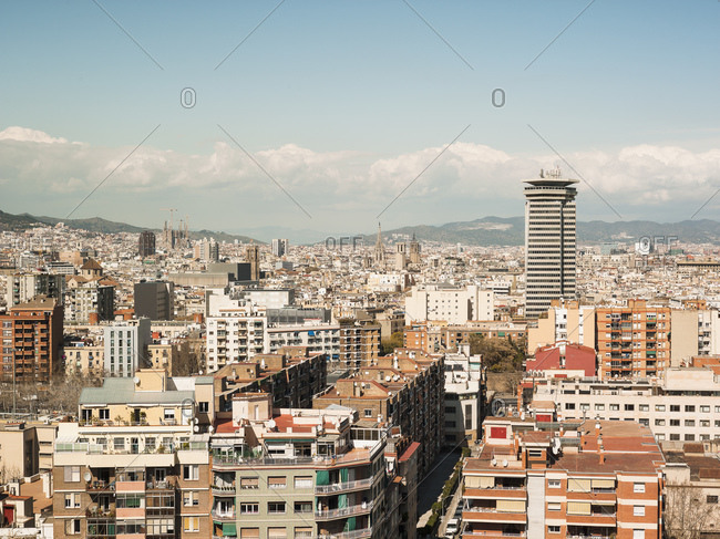 Elevated view of rooftops and cityscape from Montjuic Hill, Barcelona, Spain