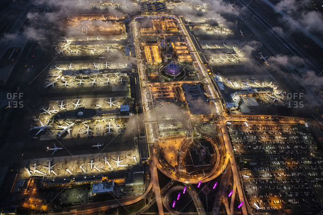 High angle view of airport illuminated at night, Los Angeles, California, USA