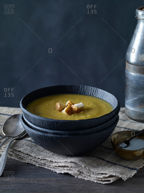 Bowl of warm squash soup