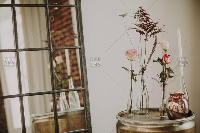 Decoration, flower vases, grasses, side table