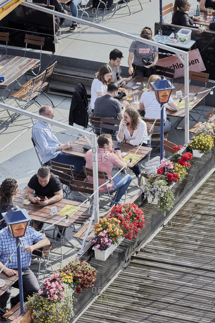 July 7, 2019: Guests on a summer afternoon on a restaurant ship on the main in frankfurt.