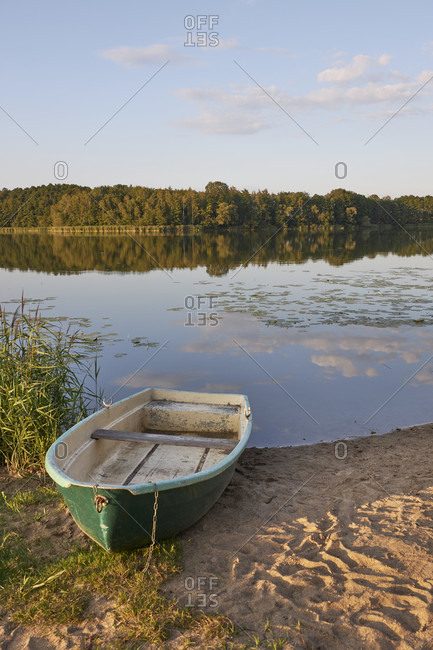 Germany, mecklenburg-west pomerania, lake, boat