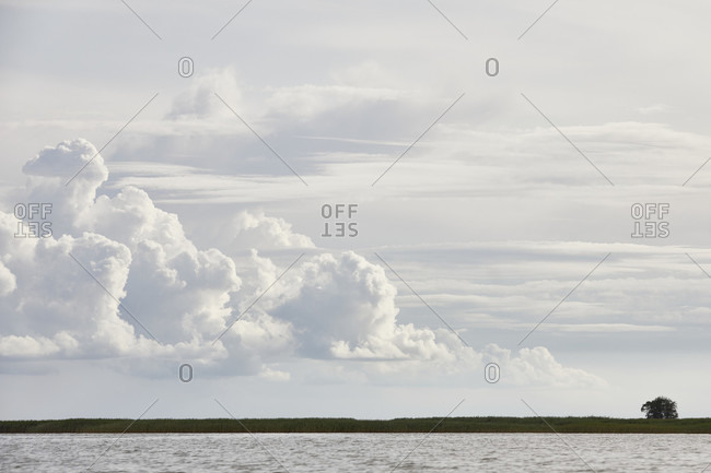 Germany, mecklenburg-west pomerania, bodden, sky, clouds
