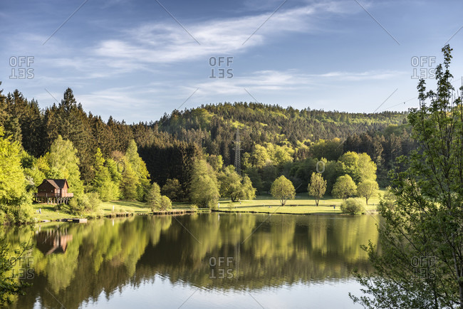 Erbach, hessen, germany. view of the marbachsee in the odenwald in spring.