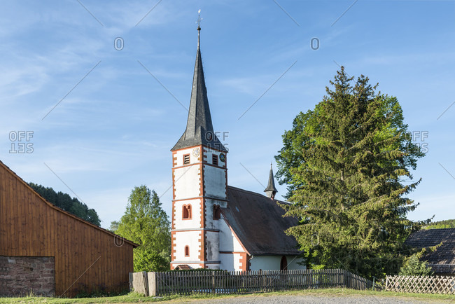 Guttersbach, mossautal, hessen, germany. the protestant parish church in gutterbach also known as the source church.