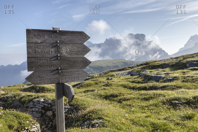 July 30, 2016: Trail signs for hikers on the monte piana, sexten dolomites, auronzo di cadore, belluno, veneto, italy