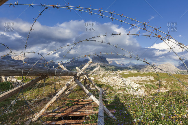 Barbed wire between the trenches of the first world war on the monte piana, sexten dolomites, auronzo di cadore, belluno, veneto, italy