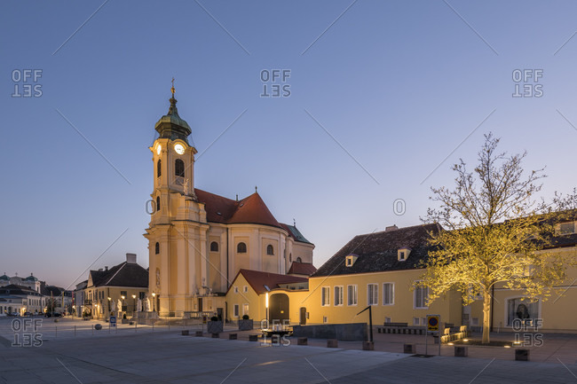 April 22, 2020: Parish church at schoolmate in laxenburg, lower austria, austria