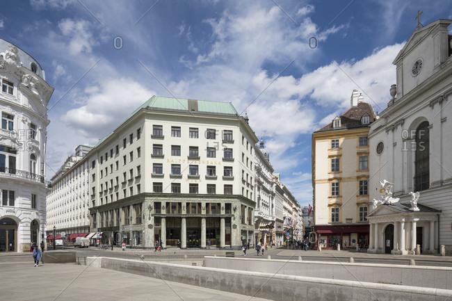 April 30, 2020: Michaelerplatz, looshaus with raiffeisenbank in the middle, 1st district, inner city, vienna, austria
