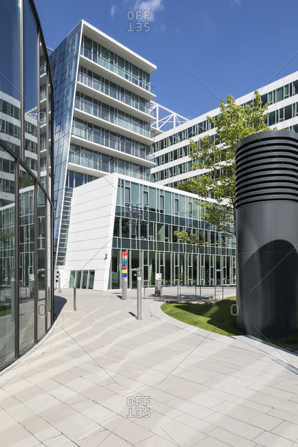 "May 27, 2020: Modern office buildings in the district zwei, the office building ""plus zwei"", 2nd district, leopoldstadt, vienna, austria"