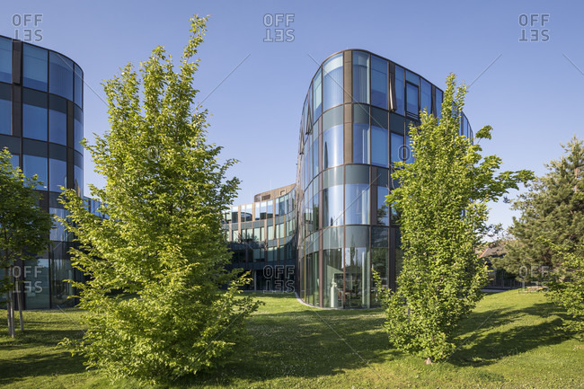 "May 27, 2020: Modern office buildings in quarter two, the office building ""rund vier"", 2nd district, leopoldstadt, vienna, austria"